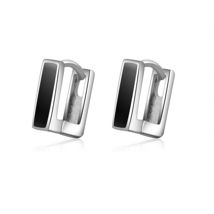 2017 new arrival hot sell fashion black earring 925 sterling silver ladies stud earrings jewelry wedding birthday gift wholesale in Stud Earrings from Jewelry Accessories