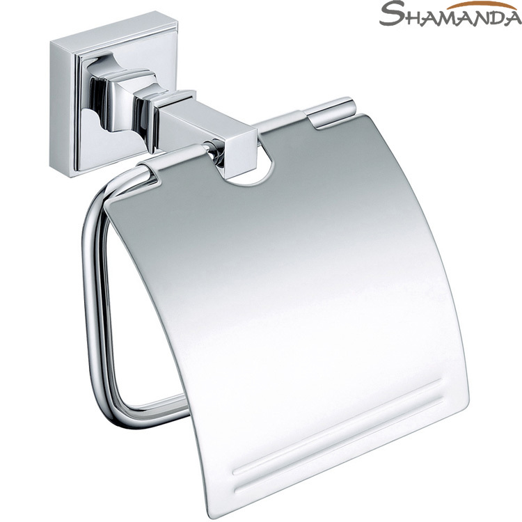 все цены на Free Shipping-modern Solid Brass Chrome Toilet Paper Holder with Cover ,paper Rack,bathroom Accessories-wholesale-85005 онлайн
