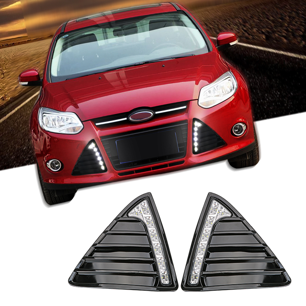 2Pcs/Set Car Daytime Running Lights Auto LED DRL Daylight For Ford Focus 3 MK3 2012 2013 2014 Waterproof Fog Lamp DC 12V White electric face cleanser facial vacuum pore cleaner nose acne comedo suction blackhead remover skin care cleaning beauty machine