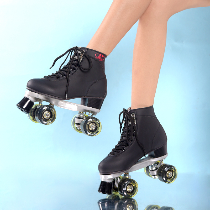 Black Roller Skates With Black Led Lighting Wheels Double Line Skates Adult Racing 4 Wheels Two line Roller Skating Shoes reniaever double roller skates skating shoe gift girls black wheels roller shoe figure skates white free shipping