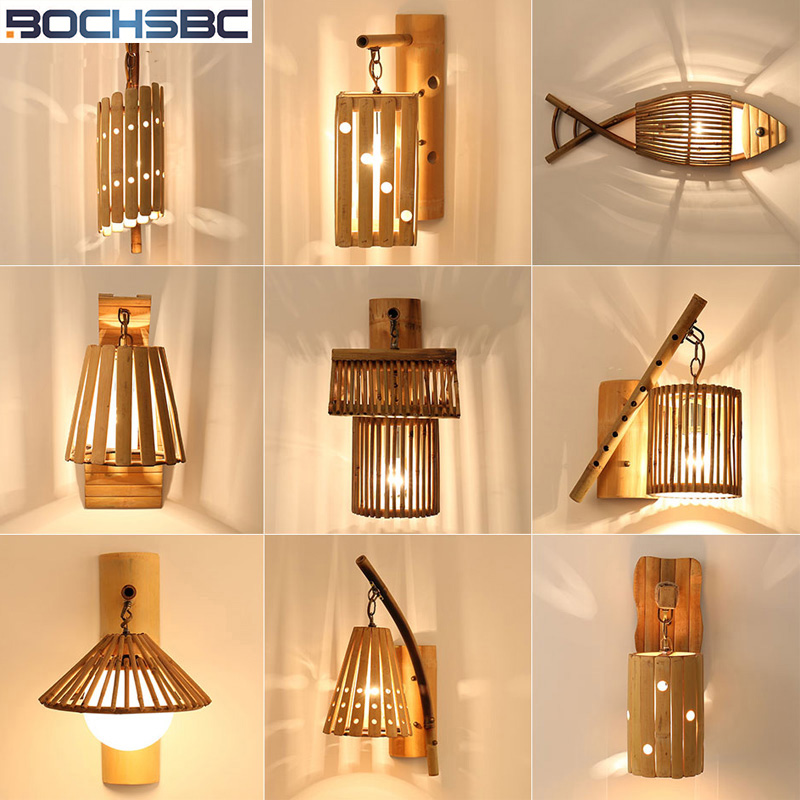 Lampe de mur en bambou de style japonais créatif Lampe de