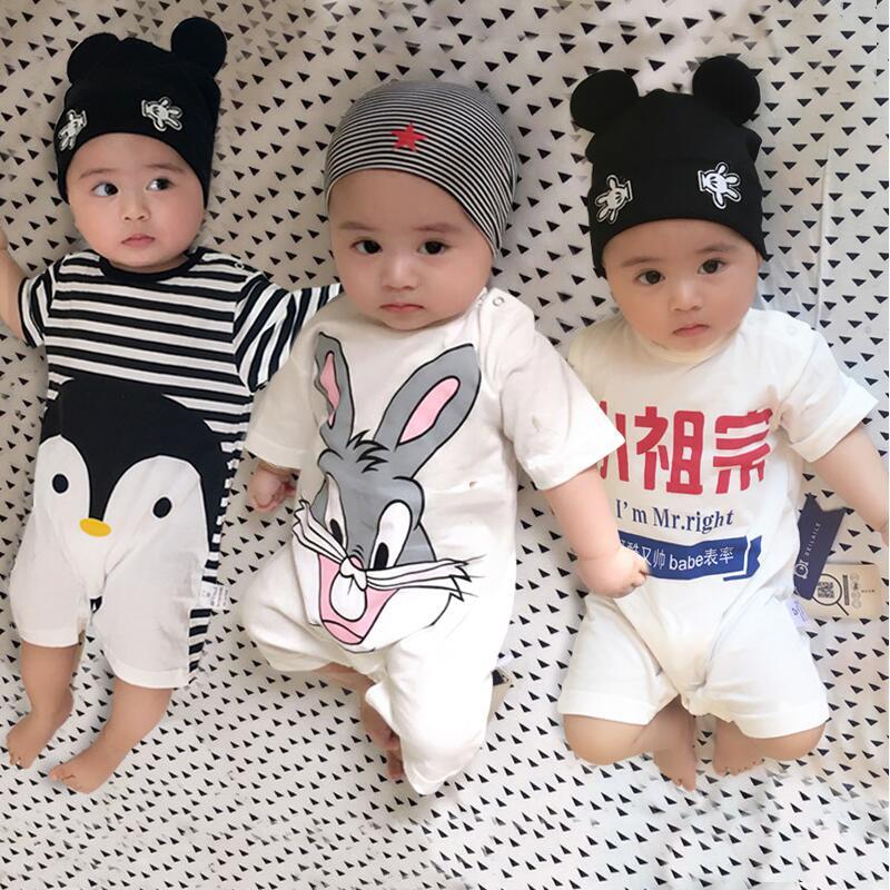 100% czystej bawełny Baby Girl Romper Summer krótki rękaw Cartoon - Odzież dla niemowląt - Zdjęcie 3