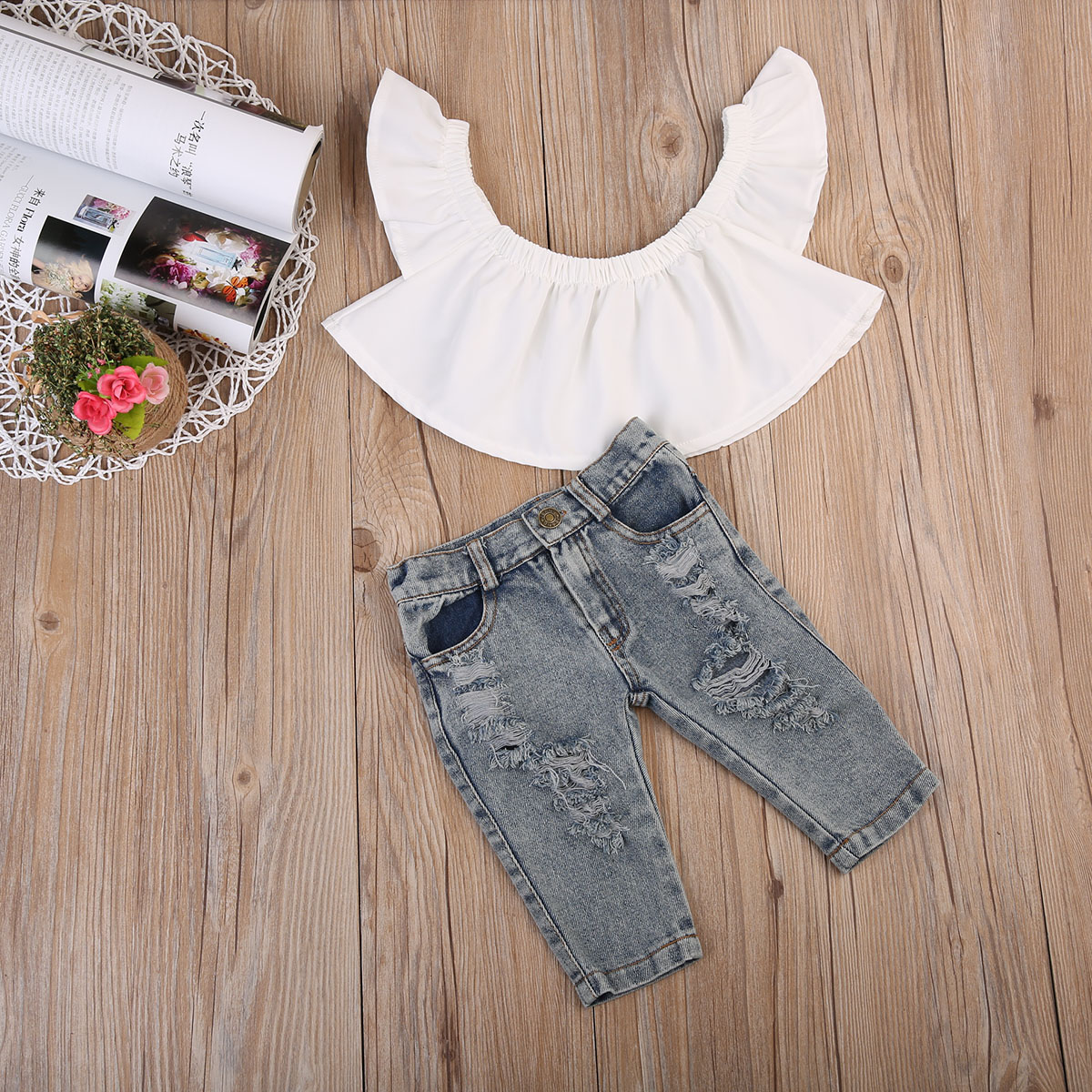 2pcs Cute Baby Girls Off Shoulder Tops Holes Denim Pants Outfits Clothes Sets Summer Autumn Kids Girls Clothing 0-4Y toddler baby kids girls clothes sets summer lace tops t shirt short sleeve denim jeans pants cute outfits clothing set