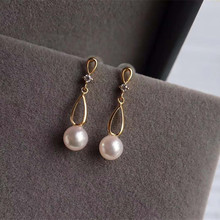 VOJEFEN Curve Twist Shape Pearl Drop Earrings for Women 18K Yellow Gold 7-7.5mm Natural Freshwater Dangle Jewelry