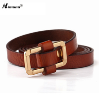 New Cowskin Genuine Leather Gold Plating Alloy Smooth Buckle Female Belts For Women Decoration Girdle Eight