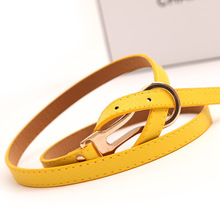 цена на Korean Fashion Wild Decoration Knotted Thin Belt Belts for Women Simple Summer New Yellow Color Buckle Belt for Female Ceinture