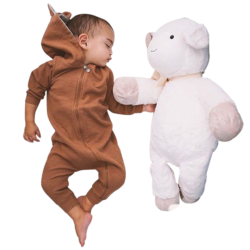 Newborn Baby Romper Tiny Cottons Autumn 2017 Sika Deer Long Sleeve Girl Boy Clothes Cute Winter Hooded Jumpsuit Baby Onesie newborn baby girl boy clothes tiny cottons 2017 baby romper infant toddler rompers jumpsuit clothes gray sleeveless baby onesie