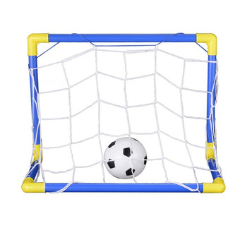 Folding Mini Football Soccer Ball Goal Post Net Set + Pump Kids Sport Indoor Outdoor Games Toys Child Birthday Gift Plastic Hot! children s soccer toys kindergarten babies indoor mini soccer indoor games indoor games indoor games toys for boys