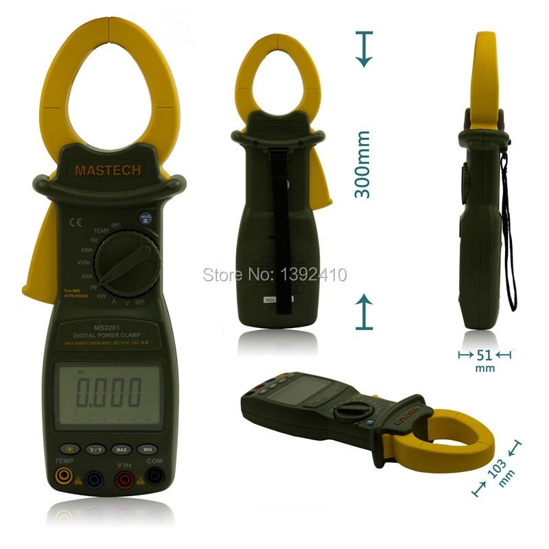 Mastech MS2201 True Rms Auto Range Digital Power Clamp Meter Wattmeter Factor Ammeter Voltmeter and ACTIVE ENERGY Tester MS2201  цены