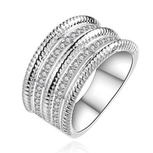 plated silver rings noble crystal stone wedding women fashion sweet ring Silver round CZ female models ring jewelry R659