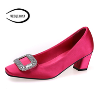 WEIQIAONA Women new silk fashion sexy high heels diamond Square buckle pumps Noble Wedding shoes Party shoes stable Strong heels