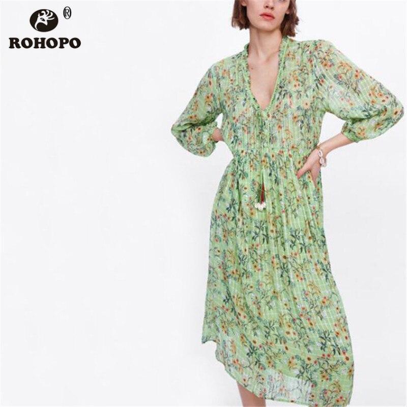 ROHOPO Autumn Long Sleeve Printed Midi Dress Ladies Loose Pleated Maxi Straight Dress Ladies Tunic British vestido BM2081 in Dresses from Women 39 s Clothing
