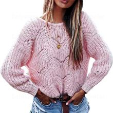Laipelar  Women Autumn Knitted Sweaters 2018 Winter Basic Hollow Out Long Sleeve O Neck Pink Top Female Loose Casual Pullovers