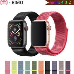 EIMO спортивные петли ремешок для Apple Watch 4 44 мм 40 мм Корреа iwatch 4/3/42 мм 38 мм тканые нейлон ремешок браслет пояса черный