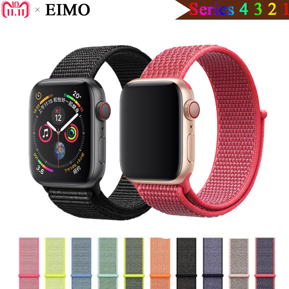 EIMO Sport Loop band For Apple Watch 4 44mm 40mm correa iwatch series 3/2/1 42mm 38mm Woven Nylon strap wristband bracelet belt eimo sport loop strap correa for apple watch band 42mm 44mm 40mm 38mm iwatch series 4 3 2 1 woven nylon bracelet wrist watchband