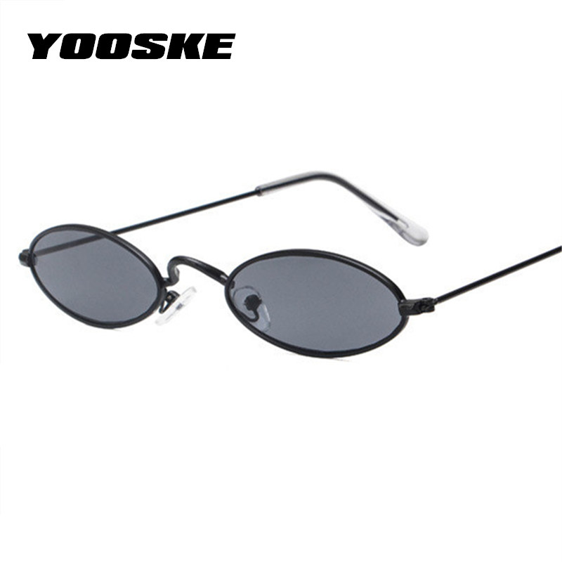 3003ee5f2510a9 YOOSKE Skinny Oval Sunglasses Women 90s Vintage Small Cat Eye Sun ...