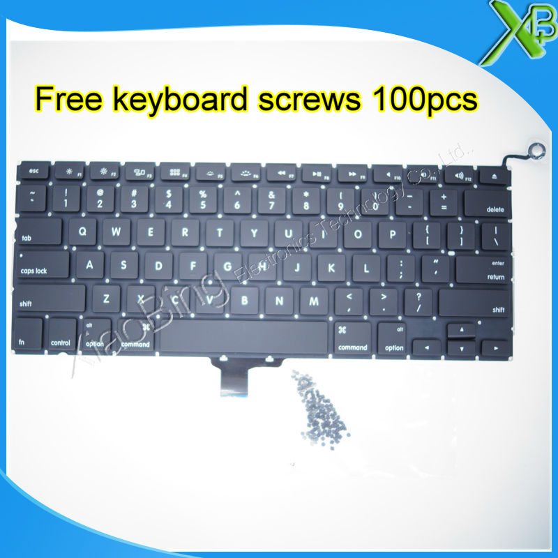 "Brand New US keyboard+10keyboard screws For MacBook Pro 13.3 inch"" A1278 2008-2012 Years"""