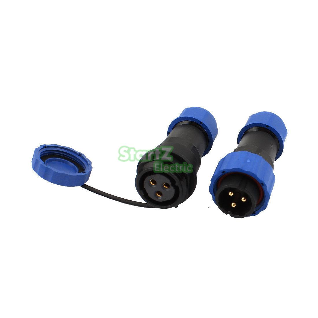 3 Pin Pair Waterproof Aviation Cable Connector Plug w Socket IP68 SP13-3