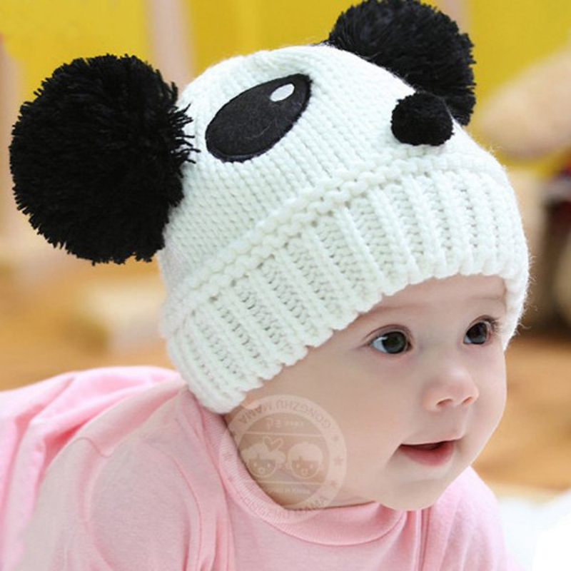 Baby Kids Cartoon Panda Ball Handmade Knitted Crochet Beanie Cap Winter Hat