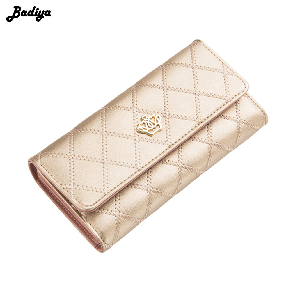 2017 New Fashion Women Crown Plaid Long Double Zip Clutch Leather Wallet Purse Coin Card Bag yuanyu 2018 new hot free shipping real python leather women clutch women hand caught bag women bag long snake women day clutches