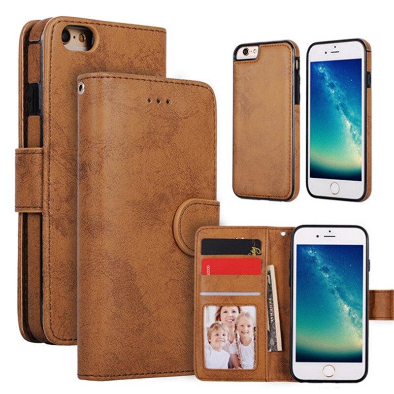 Lancase для iPhone 7 чехол 2 в 1 съемная искусственная кожа Магнитный кошелек Обложка для iPhone 7 Plus ремень Телефонные чехлы для iPhone 7