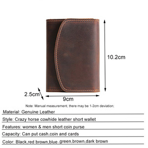 Image 5 - Coin Purse Men Wallets Genuine Leather Mini Purse with Zipper Pocket Slim Wallet Card Holder Small Change Pouch Male Billfold