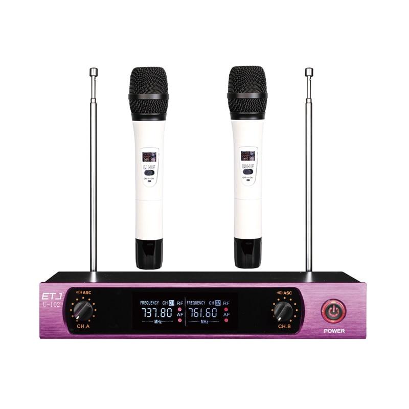 Самоуправления по U-102 беспроводной микрофон с экраном 50m расстояние 2 канала портативный микрофон система караоке беспроводной микрофон