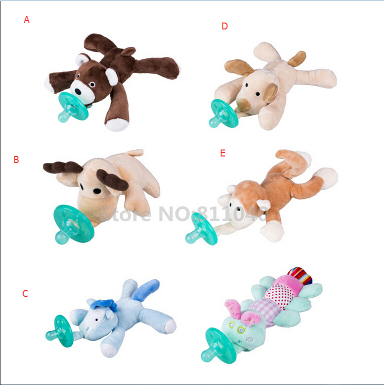 Emmababy Wholesale Newborn Baby Pacifier Brand Animals Silicone Pacifiers For Baby Cuddly Plush Nipples Feeder Tool Gags