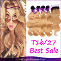 T1b/27 Dark Roots Honey Blonde Ombre Human Hair 4Bundles With Closure Brazilian Body Wave Hair Weaves With Closure Free Shipping