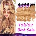 T1b/27 Roots Oscuro Honey Blonde Ombre Cabello Humano 4 Paquetes Con Cierre Brasileño Pelo Onda Del Cuerpo Teje Con el Envío Libre de cierre