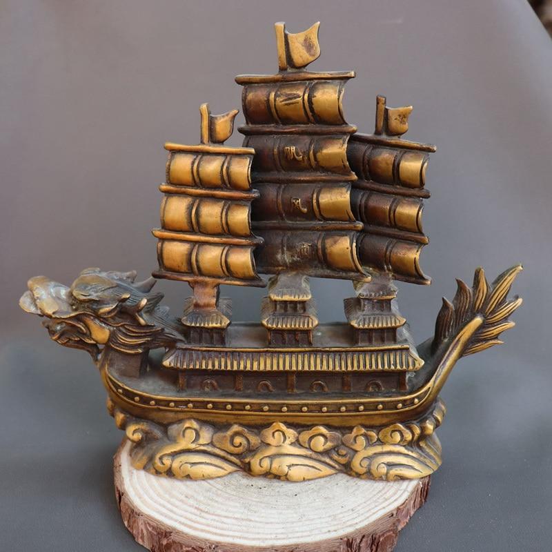 Chine chinois Fengshui laiton Dragon pavillon bateau bateau plaine voile Statue