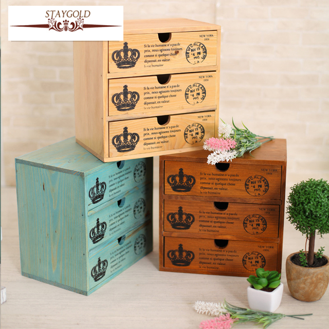 Staygold Z Multifunctional Mini Storage Cabinet Three Drawer Box Wood Craft Small Parts Vintage