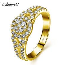 a53f7670c03e AINUOSHI 10 K sólido oro amarillo anillo de Halo compromiso de la boda de  la mujer joyería exquisita del corazón ahuecado nupcia.