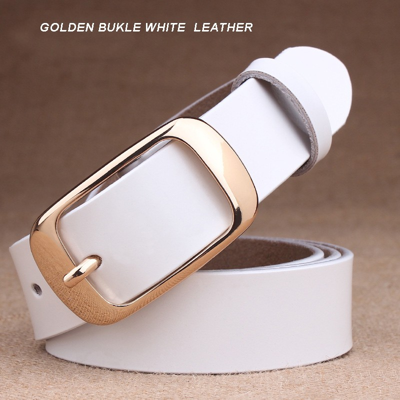 GOLDEN BUKLE WHITE  LEATHER