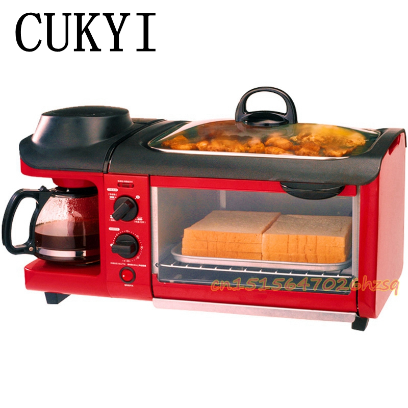 CUKYI Bread Coffee machine breakfast bar oven multifunctional household 3 in 1 fry pan brushed stainless steel cukyi high quality slow cooker household steam stew multifunction birdsnest pregnant tonic baby supplement nutritious breakfast