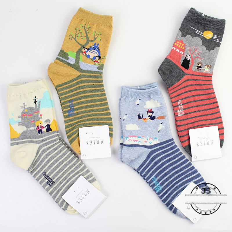Anime Spirited Away Print Socks My Neighbor Totoro Kiki's Delivery Service Cute Funny Women Spring Autumn Comfort Cotton Sock
