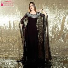 Arabisch kaftan kleider Elegante Charming Gestickte Schwarz Langarm Chiffon Dubai traditionellen Kleid Abend Dresa Z799