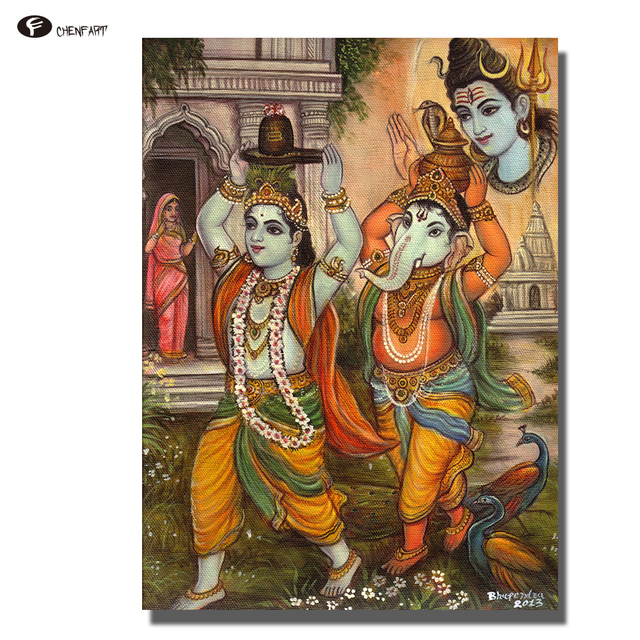 Us 4 65 54 Off Chenfart Home Decor Buddha Wall Art Ganesha Canvas Painting Wall Pictures For Living Room Decorative Pictures No Frame In Painting