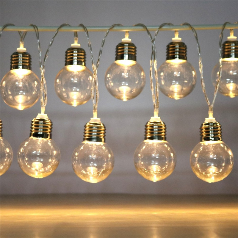10/20 LED Bulb Light String Battery Power Waterproof Festive Atmosphere Fairy Lights String Christmas Wedding Party Decoration