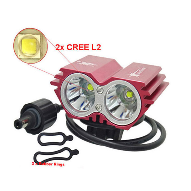 Bike Light X2 L2 5000 Lumen SolarStorm Bicycle lamp 2x XML L2 LED BicycleLight Bike headLamp+O ring (only headlight) 6000 lumen 3 xml l2 led bicycle bike light headlamp headlight lampe frontal 5 modes rechargable 6400mah battery pack for cycling
