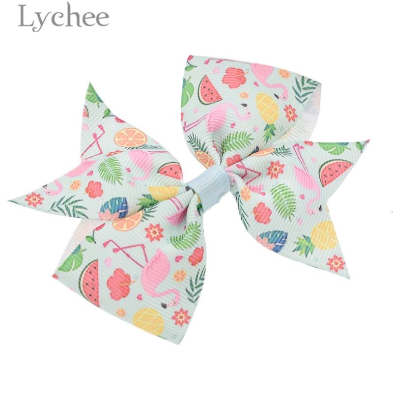 Lychee Cartoon Alloy Cloth Kids Flamingo Bowknot Hair Clips Cute Lovely Animal Pattern Hair Clips Women Girls Hairpins Carfts