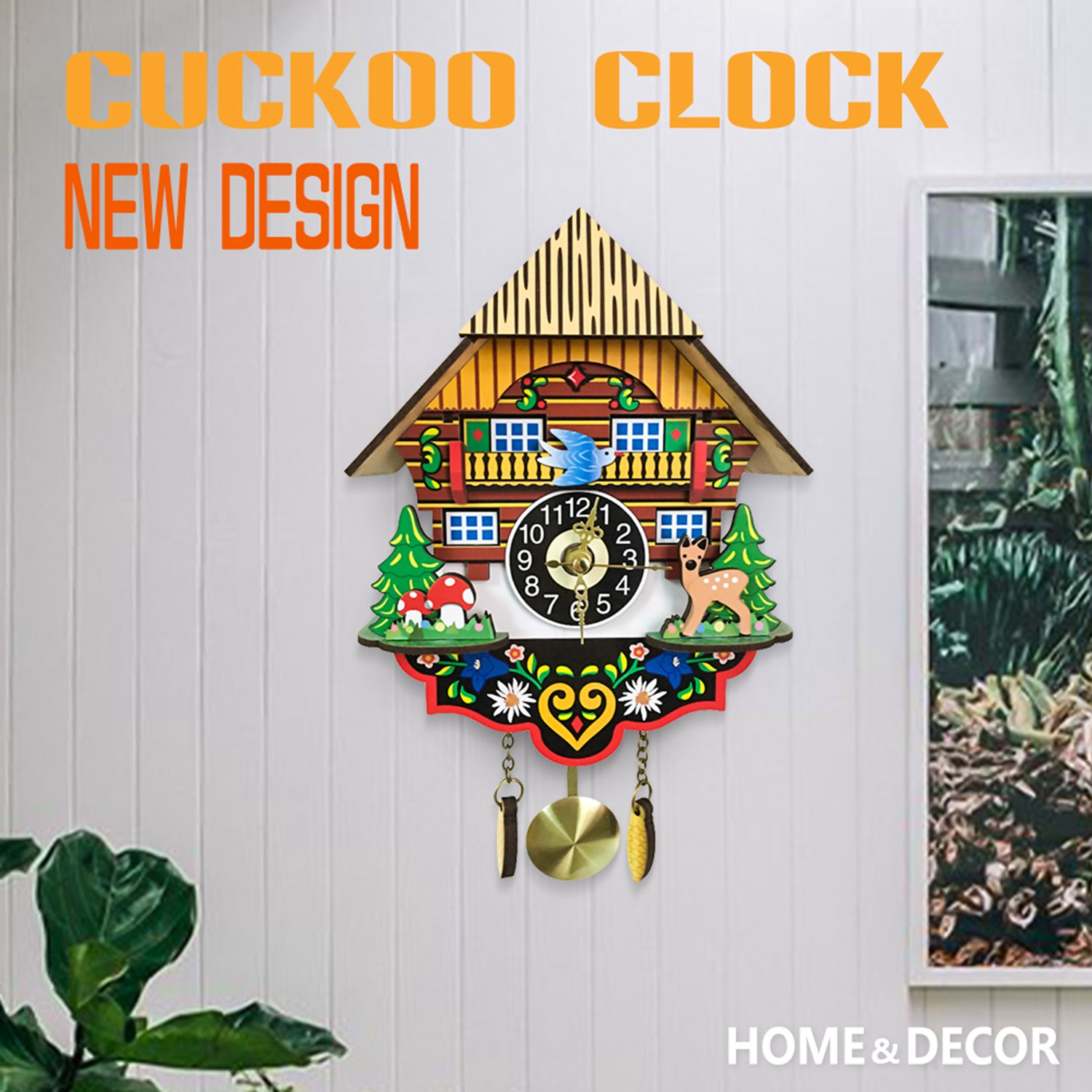 Image 2 - Hot Silent Cuckoo Wall Clock, Yellow European Style Living Room Vintage Wall Clock precise-in Wall Clocks from Home & Garden