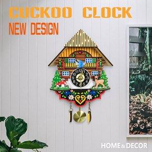 Image 2 - Hot Silent Cuckoo Wall Clock, Yellow European Style Living Room Vintage Wall Clock precise