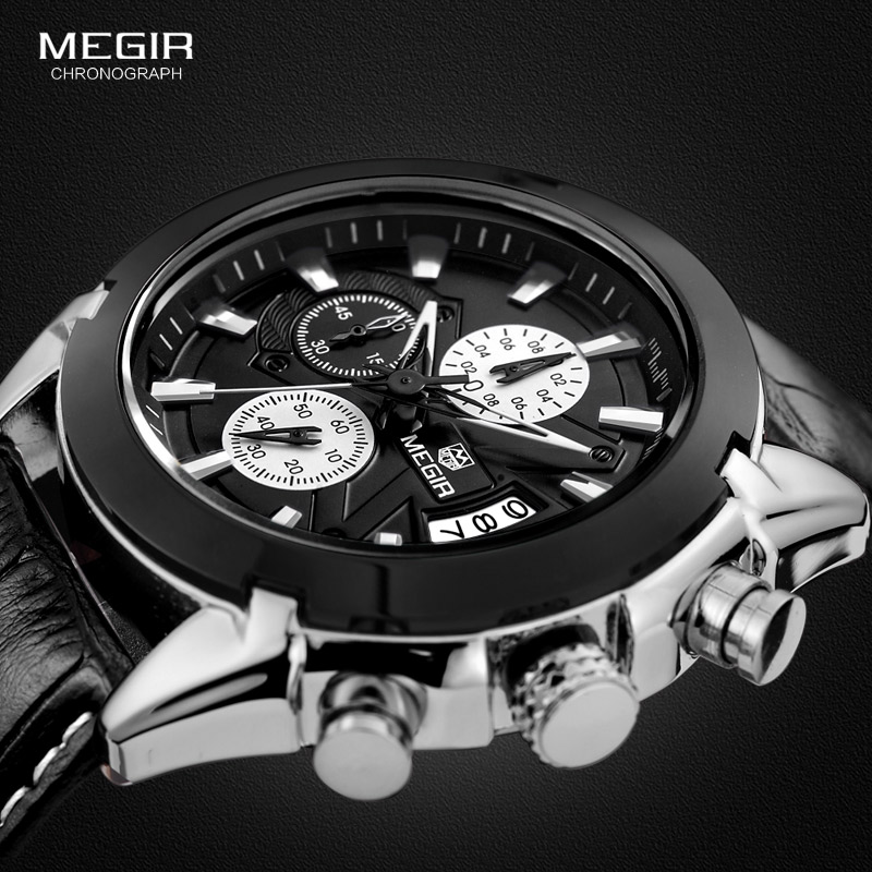 Megir hot brand quartz watch man fashion analog watches men casual chronograph hour luxury luminous leather wristwatch male puma свитшоты толстовки