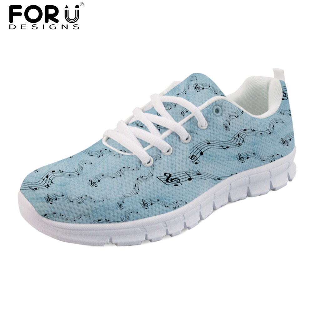 цены FORUDESIGNS 3D Music Note Pattern Women's Flats Youth Girls Casual Shoes Woman Comfortable Lace-up Sneakers Light Mesh Zapatos