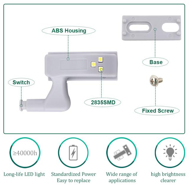 Foxanon 10pcs/Set Universal Hinge LED Sensor Light Kitchen Bedroom Living Room Cabinet Cupboard Closet Wardrobe 0.3W LED Lamps