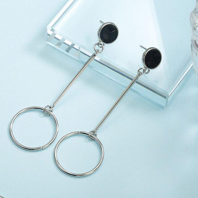 Largo círculo geométrico simple aro pendientes de joyería de moda para las mujeres venta al por mayor de joyería