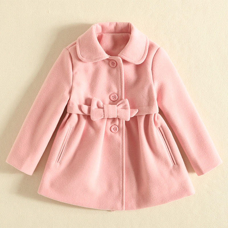 IMMDOS Winter Thick Wool Coat For Girl Kids Solid Lolita Long Sleeve Outwear Bow New Year Coat Children Clothes Fashion Clothing immdos winter new arrival down jacket for boy children hooded outwear kids thick coat baby long sleeve pocket fashion clothing page 3