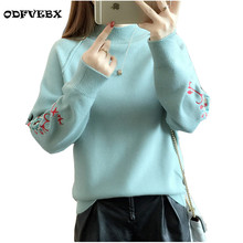 2018 embroidered bottoming sweater female spring autumn new loose fashion short wild plus size pullover sweater jacket women's