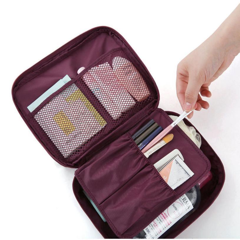 Xiniu Travel Cosmetic Bag Dot Floral Printed Makeup Toiletry Case Bag Wash Organizer Pouch Handbag #2415